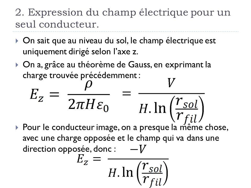 2. Expression du champ électrique pour un seul conducteur. On sait que au niveau du sol, le champ électrique est uniquement dirigé selon laxe z. On a,