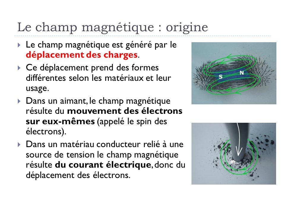Le champ magnétique : origine Le champ magnétique est généré par le déplacement des charges. Ce déplacement prend des formes différentes selon les mat
