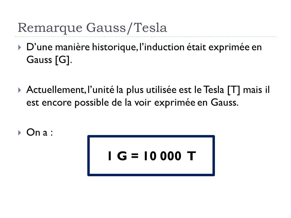 Remarque Gauss/Tesla Dune manière historique, linduction était exprimée en Gauss [G]. Actuellement, lunité la plus utilisée est le Tesla [T] mais il e