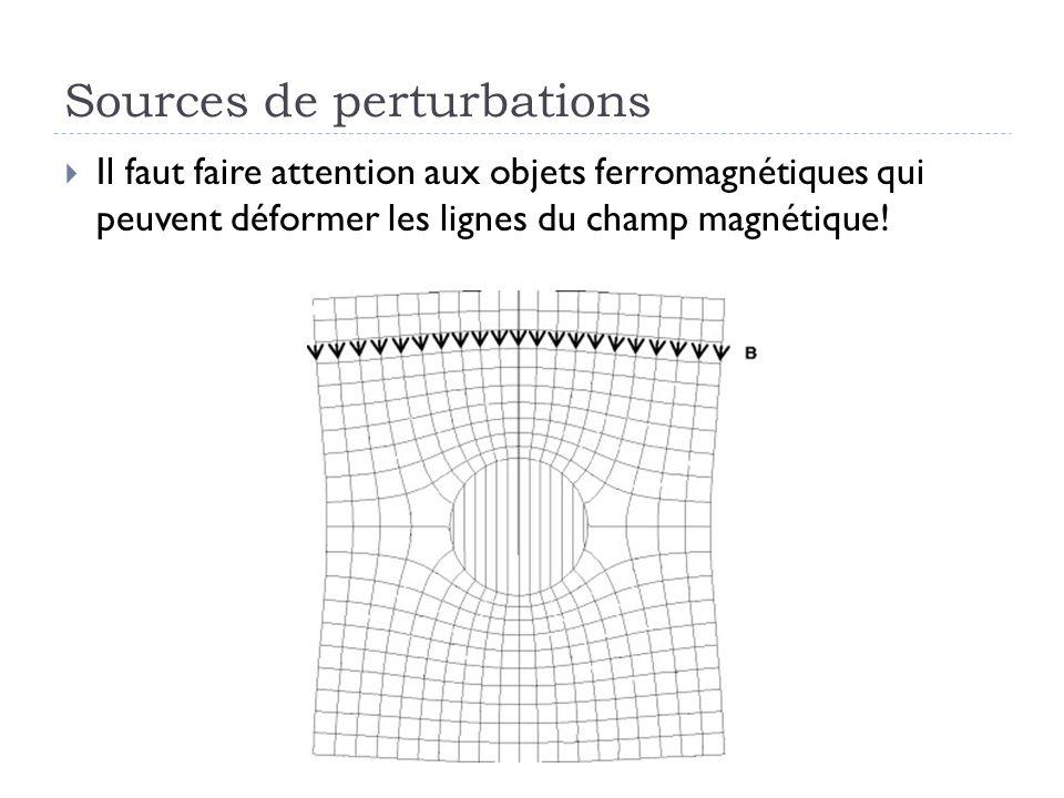 Sources de perturbations Il faut faire attention aux objets ferromagnétiques qui peuvent déformer les lignes du champ magnétique!