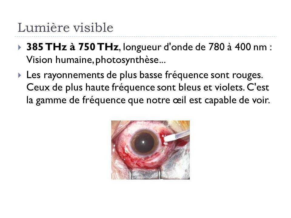 Lumière visible 385 THz à 750 THz, longueur d'onde de 780 à 400 nm : Vision humaine, photosynthèse... Les rayonnements de plus basse fréquence sont ro