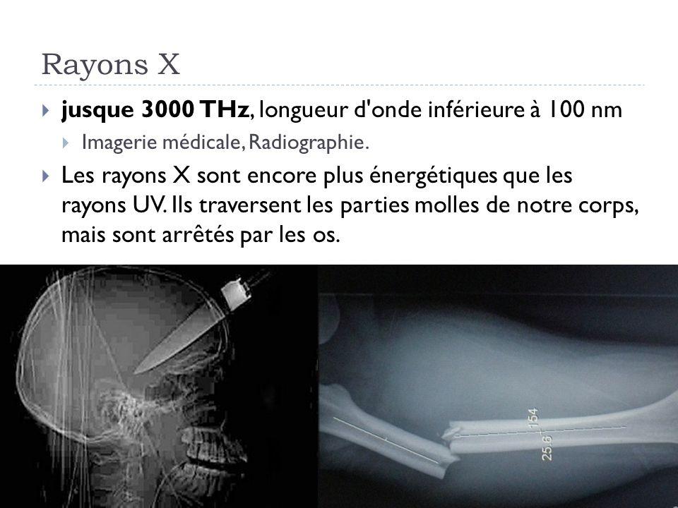 Rayons X jusque 3000 THz, longueur d'onde inférieure à 100 nm Imagerie médicale, Radiographie. Les rayons X sont encore plus énergétiques que les rayo