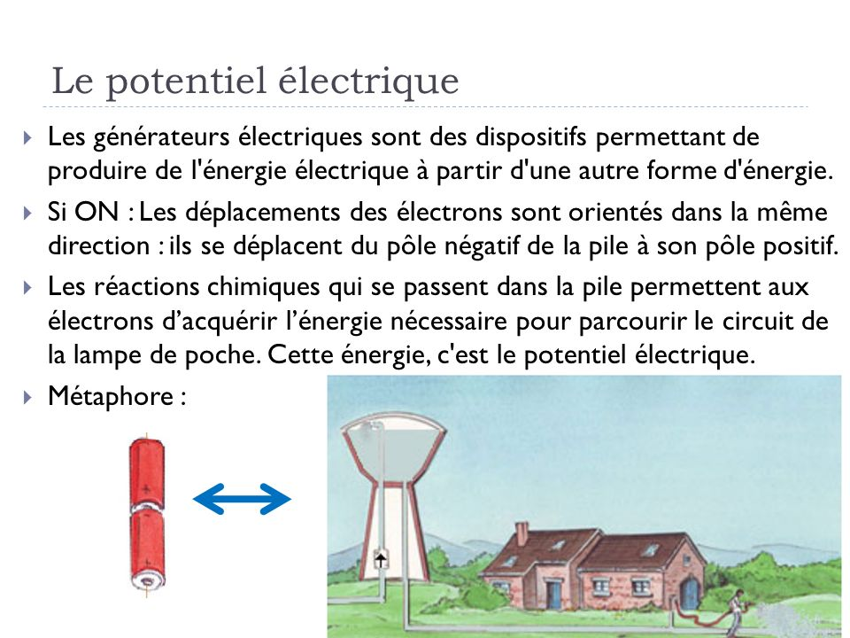 Le potentiel électrique Les générateurs électriques sont des dispositifs permettant de produire de l'énergie électrique à partir d'une autre forme d'é