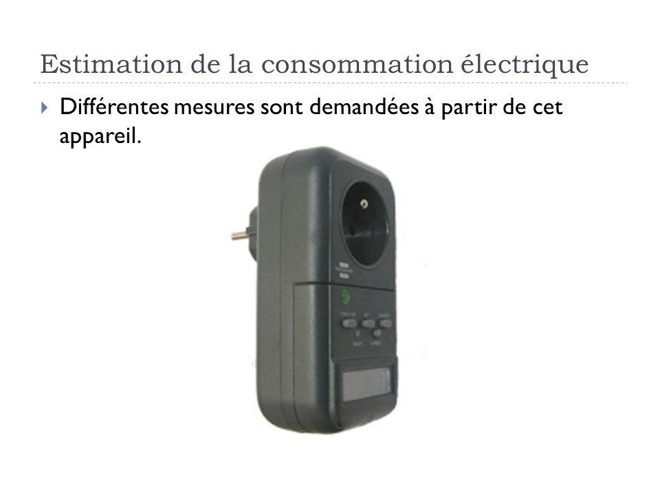 Estimation de la consommation électrique Différentes mesures sont demandées à partir de cet appareil.