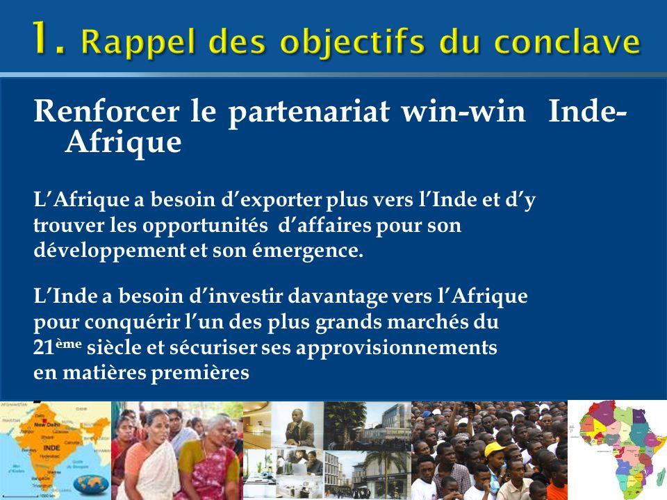Renforcer le partenariat win-win Inde- Afrique LAfrique a besoin dexporter plus vers lInde et dy trouver les opportunités daffaires pour son développement et son émergence.