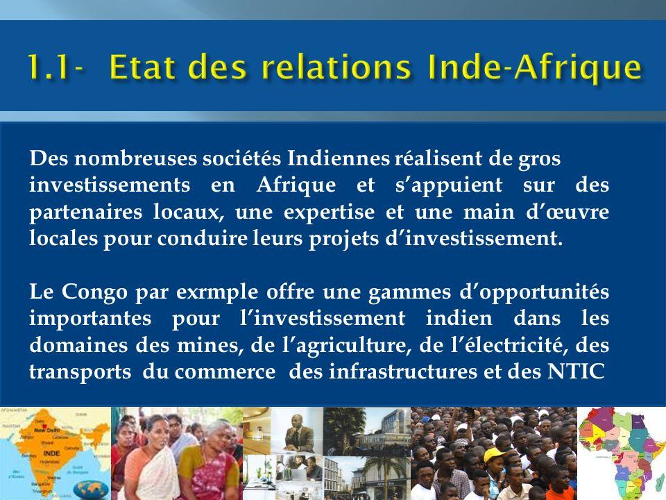 Des nombreuses sociétés Indiennes réalisent de gros investissements en Afrique et sappuient sur des partenaires locaux, une expertise et une main dœuvre locales pour conduire leurs projets dinvestissement.