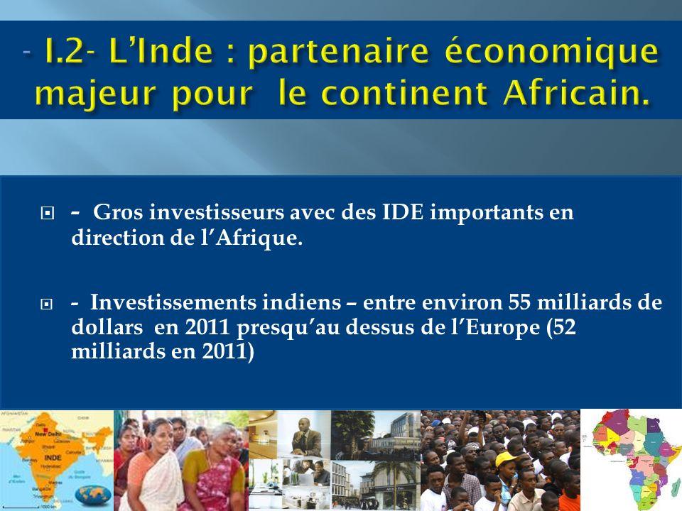- Gros investisseurs avec des IDE importants en direction de lAfrique.