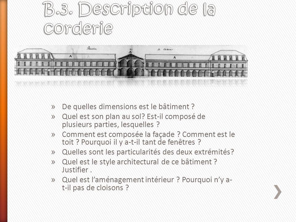 » De quelles dimensions est le bâtiment ? » Quel est son plan au sol? Est-il composé de plusieurs parties, lesquelles ? » Comment est composée la faça