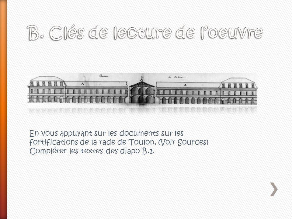 En vous appuyant sur les documents sur les fortifications de la rade de Toulon, (Voir Sources) Compléter les textes des diapo B.1.
