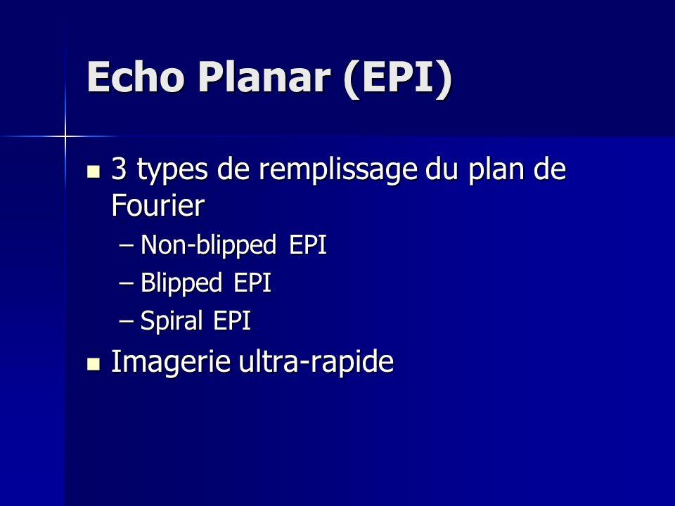 Echo Planar (EPI) 3 types de remplissage du plan de Fourier 3 types de remplissage du plan de Fourier –Non-blipped EPI –Blipped EPI –Spiral EPI Imagerie ultra-rapide Imagerie ultra-rapide