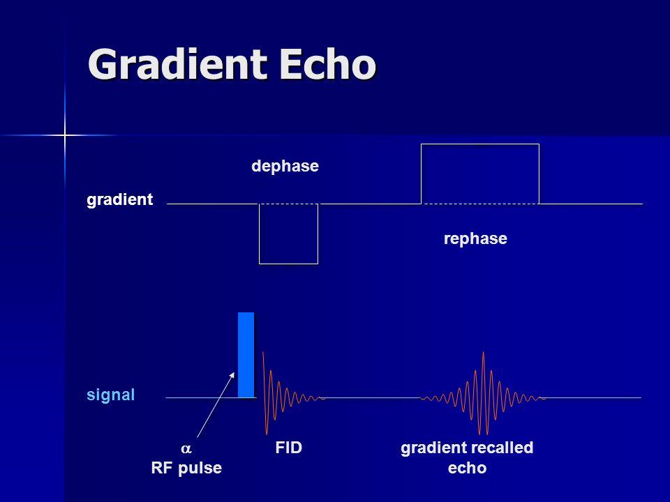 Signal en écho de gradient Le signal en écho de gradient avec équilibre de laimantation transversale est toujours une combinaison de : FID qui est plutôt T1w / T2*w SE qui est plutôt T2w échos stimulés, plutôt T2w