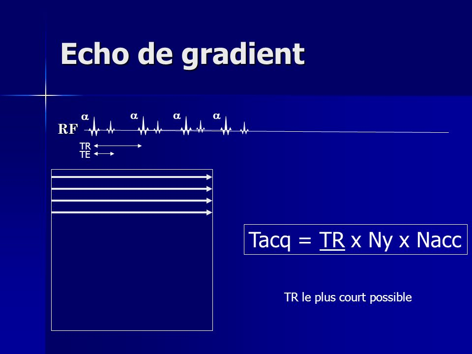 Echo de gradient RF TR TE Tacq = TR x Ny x Nacc TR le plus court possible