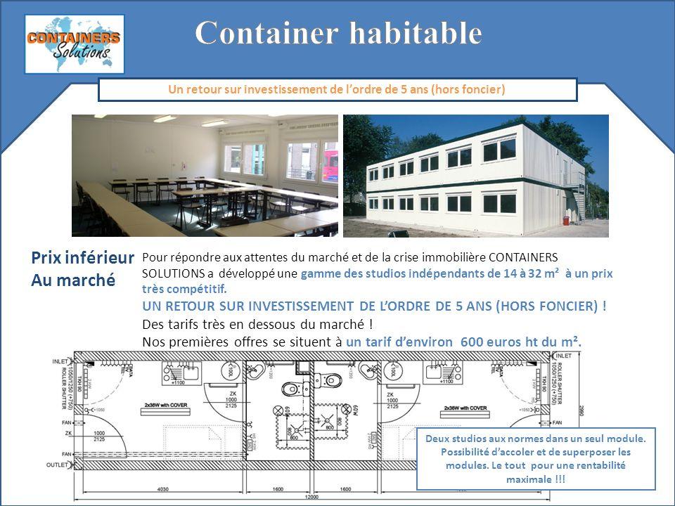 Flexibilité Le mode constructif de nos containers permet denvisager toutes les tailles de logement en assemblant entre eux, pour les plus grandes surfaces, des surfaces unitaires de 15 à 30 m² jusquà obtenir un immeuble si besoin.
