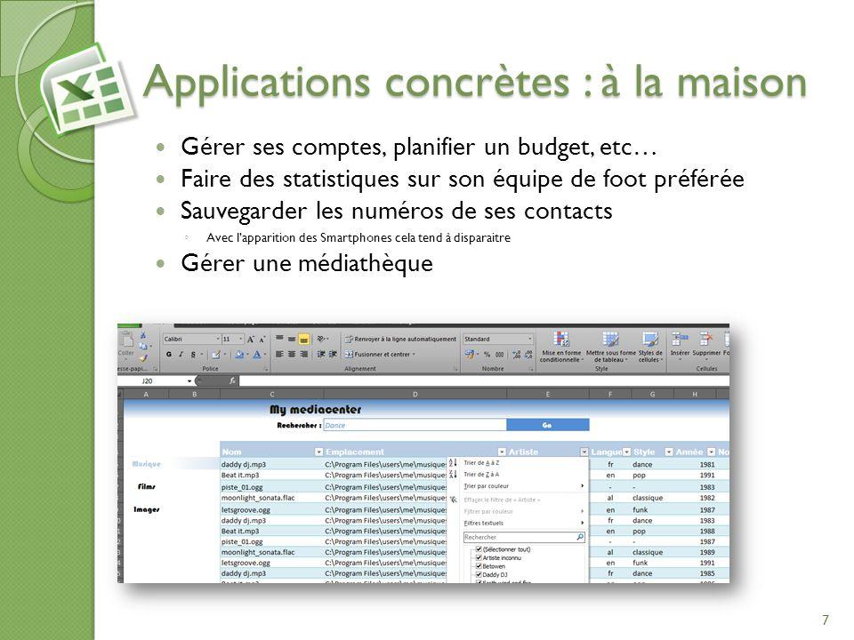 Sommaire Applications concrètes Terminologie Les fonctions Les fonctions (avancé) Les fonctions financières Les fonctions statistiques 28