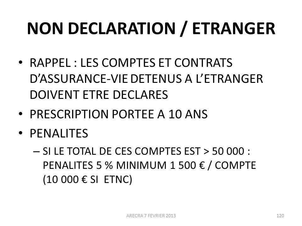 NON DECLARATION / ETRANGER RAPPEL : LES COMPTES ET CONTRATS DASSURANCE-VIE DETENUS A LETRANGER DOIVENT ETRE DECLARES PRESCRIPTION PORTEE A 10 ANS PENALITES – SI LE TOTAL DE CES COMPTES EST > 50 000 : PENALITES 5 % MINIMUM 1 500 / COMPTE (10 000 SI ETNC) ARECRA 7 FEVRIER 2013120