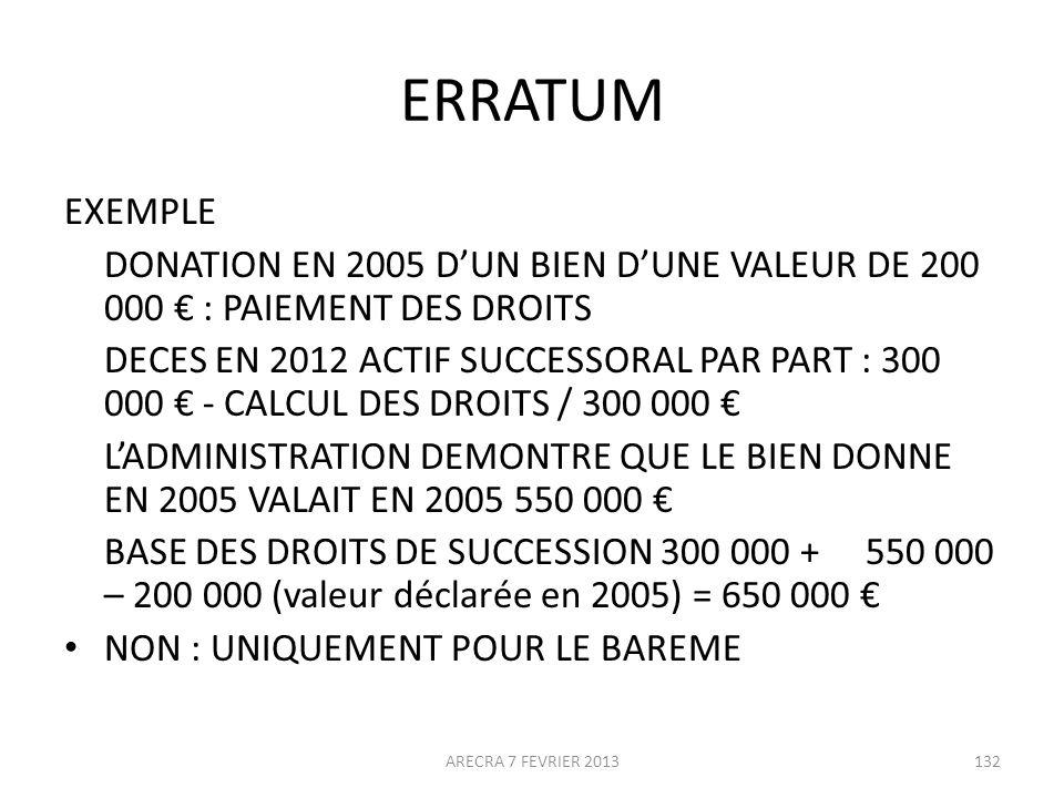 ERRATUM EXEMPLE DONATION EN 2005 DUN BIEN DUNE VALEUR DE 200 000 : PAIEMENT DES DROITS DECES EN 2012 ACTIF SUCCESSORAL PAR PART : 300 000 - CALCUL DES DROITS / 300 000 LADMINISTRATION DEMONTRE QUE LE BIEN DONNE EN 2005 VALAIT EN 2005 550 000 BASE DES DROITS DE SUCCESSION 300 000 + 550 000 – 200 000 (valeur déclarée en 2005) = 650 000 NON : UNIQUEMENT POUR LE BAREME ARECRA 7 FEVRIER 2013132