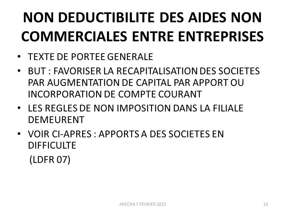 NON DEDUCTIBILITE DES AIDES NON COMMERCIALES ENTRE ENTREPRISES TEXTE DE PORTEE GENERALE BUT : FAVORISER LA RECAPITALISATION DES SOCIETES PAR AUGMENTATION DE CAPITAL PAR APPORT OU INCORPORATION DE COMPTE COURANT LES REGLES DE NON IMPOSITION DANS LA FILIALE DEMEURENT VOIR CI-APRES : APPORTS A DES SOCIETES EN DIFFICULTE (LDFR 07) 15ARECRA 7 FEVRIER 2013