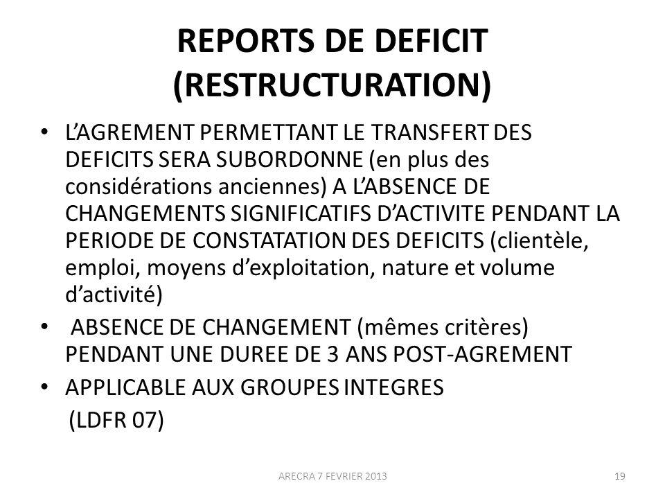 REPORTS DE DEFICIT (RESTRUCTURATION) LAGREMENT PERMETTANT LE TRANSFERT DES DEFICITS SERA SUBORDONNE (en plus des considérations anciennes) A LABSENCE DE CHANGEMENTS SIGNIFICATIFS DACTIVITE PENDANT LA PERIODE DE CONSTATATION DES DEFICITS (clientèle, emploi, moyens dexploitation, nature et volume dactivité) ABSENCE DE CHANGEMENT (mêmes critères) PENDANT UNE DUREE DE 3 ANS POST-AGREMENT APPLICABLE AUX GROUPES INTEGRES (LDFR 07) 19ARECRA 7 FEVRIER 2013