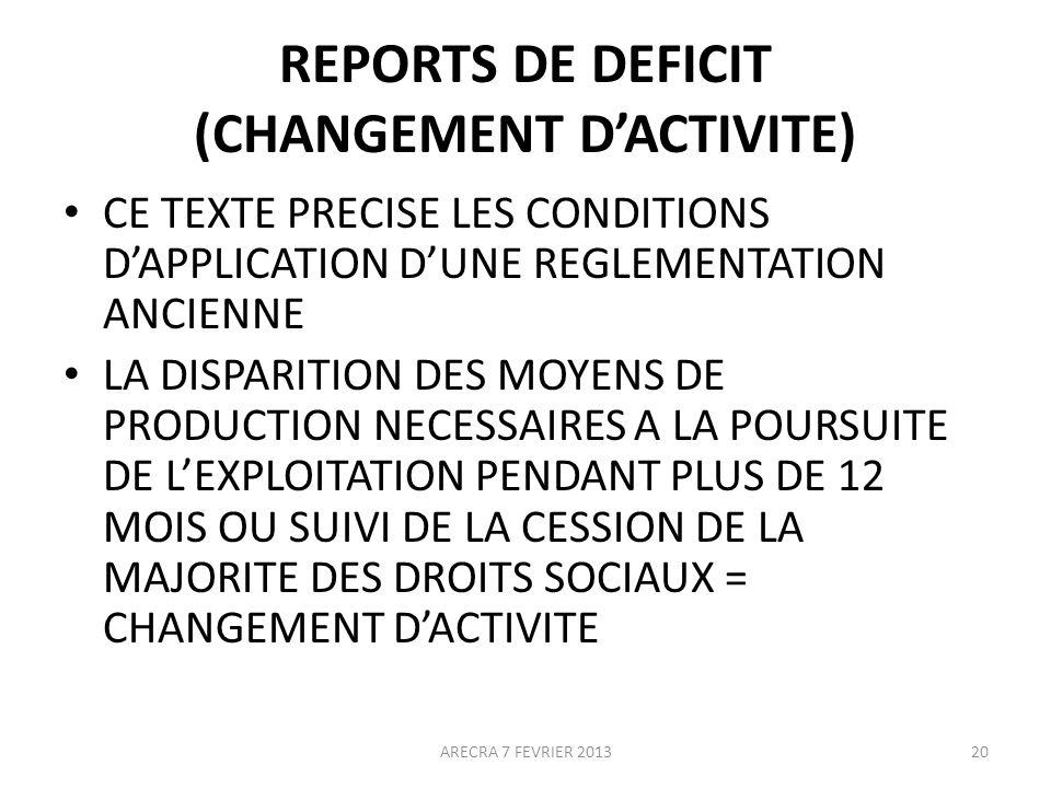 REPORTS DE DEFICIT (CHANGEMENT DACTIVITE) CE TEXTE PRECISE LES CONDITIONS DAPPLICATION DUNE REGLEMENTATION ANCIENNE LA DISPARITION DES MOYENS DE PRODUCTION NECESSAIRES A LA POURSUITE DE LEXPLOITATION PENDANT PLUS DE 12 MOIS OU SUIVI DE LA CESSION DE LA MAJORITE DES DROITS SOCIAUX = CHANGEMENT DACTIVITE 20ARECRA 7 FEVRIER 2013