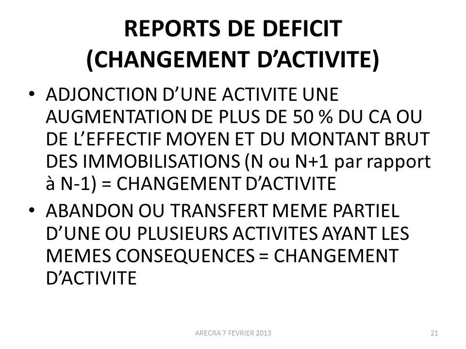 REPORTS DE DEFICIT (CHANGEMENT DACTIVITE) ADJONCTION DUNE ACTIVITE UNE AUGMENTATION DE PLUS DE 50 % DU CA OU DE LEFFECTIF MOYEN ET DU MONTANT BRUT DES IMMOBILISATIONS (N ou N+1 par rapport à N-1) = CHANGEMENT DACTIVITE ABANDON OU TRANSFERT MEME PARTIEL DUNE OU PLUSIEURS ACTIVITES AYANT LES MEMES CONSEQUENCES = CHANGEMENT DACTIVITE 21ARECRA 7 FEVRIER 2013