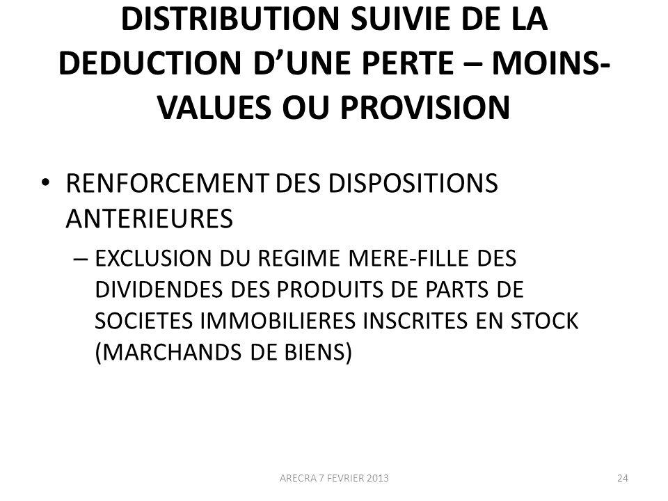 DISTRIBUTION SUIVIE DE LA DEDUCTION DUNE PERTE – MOINS- VALUES OU PROVISION RENFORCEMENT DES DISPOSITIONS ANTERIEURES – EXCLUSION DU REGIME MERE-FILLE DES DIVIDENDES DES PRODUITS DE PARTS DE SOCIETES IMMOBILIERES INSCRITES EN STOCK (MARCHANDS DE BIENS) 24ARECRA 7 FEVRIER 2013