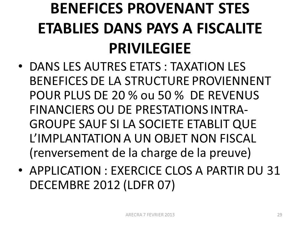 BENEFICES PROVENANT STES ETABLIES DANS PAYS A FISCALITE PRIVILEGIEE DANS LES AUTRES ETATS : TAXATION LES BENEFICES DE LA STRUCTURE PROVIENNENT POUR PLUS DE 20 % ou 50 % DE REVENUS FINANCIERS OU DE PRESTATIONS INTRA- GROUPE SAUF SI LA SOCIETE ETABLIT QUE LIMPLANTATION A UN OBJET NON FISCAL (renversement de la charge de la preuve) APPLICATION : EXERCICE CLOS A PARTIR DU 31 DECEMBRE 2012 (LDFR 07) 29ARECRA 7 FEVRIER 2013