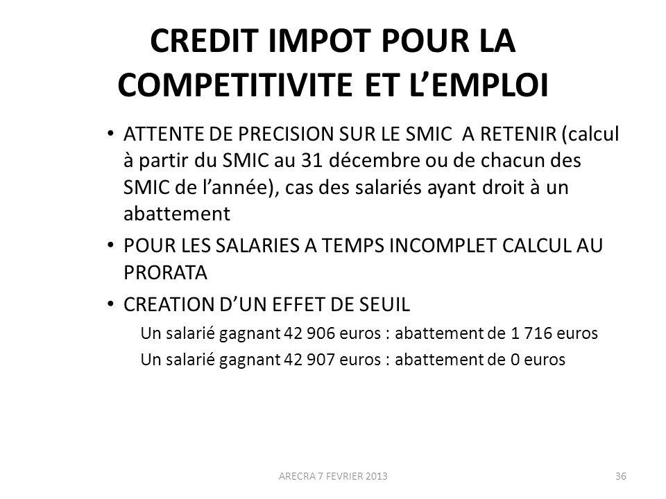 CREDIT IMPOT POUR LA COMPETITIVITE ET LEMPLOI ATTENTE DE PRECISION SUR LE SMIC A RETENIR (calcul à partir du SMIC au 31 décembre ou de chacun des SMIC de lannée), cas des salariés ayant droit à un abattement POUR LES SALARIES A TEMPS INCOMPLET CALCUL AU PRORATA CREATION DUN EFFET DE SEUIL Un salarié gagnant 42 906 euros : abattement de 1 716 euros Un salarié gagnant 42 907 euros : abattement de 0 euros ARECRA 7 FEVRIER 201336