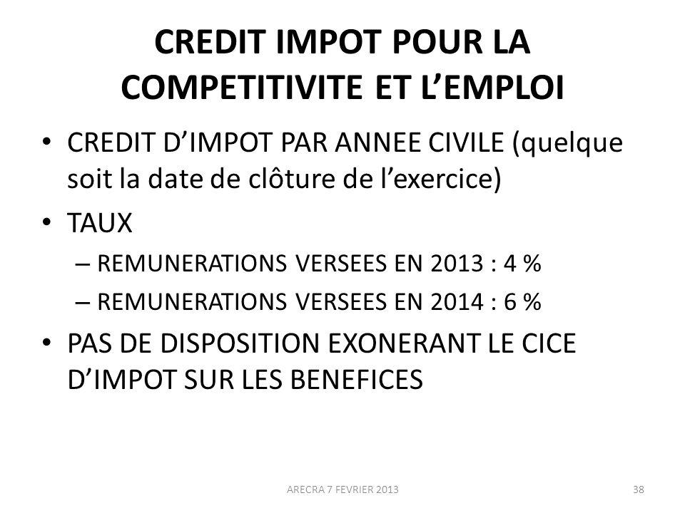 CREDIT IMPOT POUR LA COMPETITIVITE ET LEMPLOI CREDIT DIMPOT PAR ANNEE CIVILE (quelque soit la date de clôture de lexercice) TAUX – REMUNERATIONS VERSEES EN 2013 : 4 % – REMUNERATIONS VERSEES EN 2014 : 6 % PAS DE DISPOSITION EXONERANT LE CICE DIMPOT SUR LES BENEFICES ARECRA 7 FEVRIER 201338