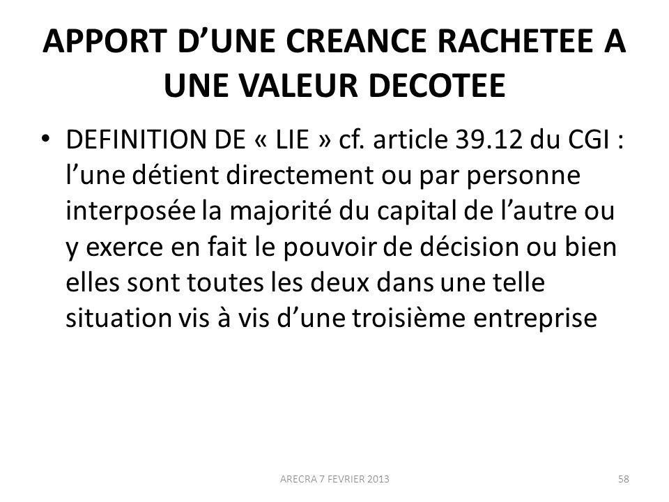 APPORT DUNE CREANCE RACHETEE A UNE VALEUR DECOTEE DEFINITION DE « LIE » cf.