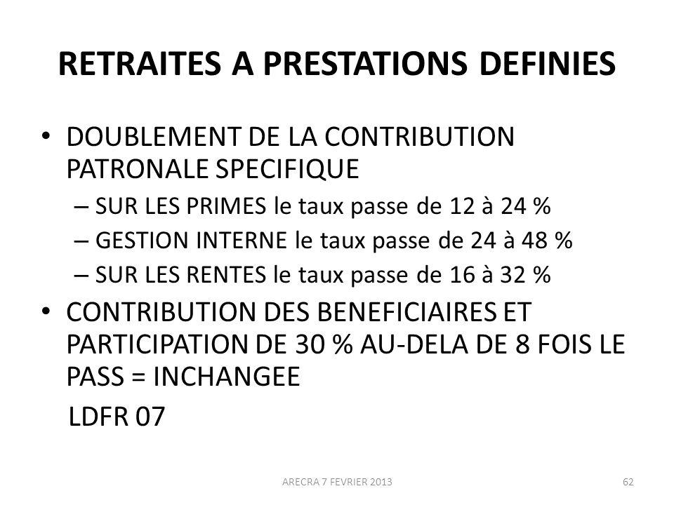 RETRAITES A PRESTATIONS DEFINIES DOUBLEMENT DE LA CONTRIBUTION PATRONALE SPECIFIQUE – SUR LES PRIMES le taux passe de 12 à 24 % – GESTION INTERNE le taux passe de 24 à 48 % – SUR LES RENTES le taux passe de 16 à 32 % CONTRIBUTION DES BENEFICIAIRES ET PARTICIPATION DE 30 % AU-DELA DE 8 FOIS LE PASS = INCHANGEE LDFR 07 62ARECRA 7 FEVRIER 2013