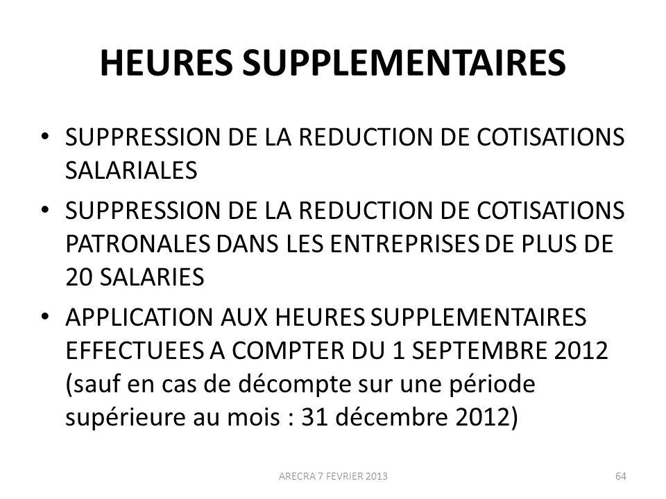 HEURES SUPPLEMENTAIRES SUPPRESSION DE LA REDUCTION DE COTISATIONS SALARIALES SUPPRESSION DE LA REDUCTION DE COTISATIONS PATRONALES DANS LES ENTREPRISES DE PLUS DE 20 SALARIES APPLICATION AUX HEURES SUPPLEMENTAIRES EFFECTUEES A COMPTER DU 1 SEPTEMBRE 2012 (sauf en cas de décompte sur une période supérieure au mois : 31 décembre 2012) 64ARECRA 7 FEVRIER 2013
