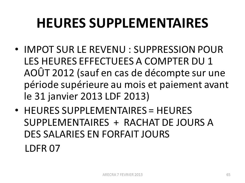HEURES SUPPLEMENTAIRES IMPOT SUR LE REVENU : SUPPRESSION POUR LES HEURES EFFECTUEES A COMPTER DU 1 AOÛT 2012 (sauf en cas de décompte sur une période supérieure au mois et paiement avant le 31 janvier 2013 LDF 2013) HEURES SUPPLEMENTAIRES = HEURES SUPPLEMENTAIRES + RACHAT DE JOURS A DES SALARIES EN FORFAIT JOURS LDFR 07 65ARECRA 7 FEVRIER 2013