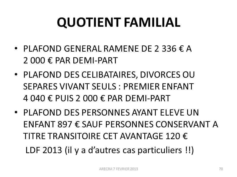 QUOTIENT FAMILIAL PLAFOND GENERAL RAMENE DE 2 336 A 2 000 PAR DEMI-PART PLAFOND DES CELIBATAIRES, DIVORCES OU SEPARES VIVANT SEULS : PREMIER ENFANT 4 040 PUIS 2 000 PAR DEMI-PART PLAFOND DES PERSONNES AYANT ELEVE UN ENFANT 897 SAUF PERSONNES CONSERVANT A TITRE TRANSITOIRE CET AVANTAGE 120 LDF 2013 (il y a dautres cas particuliers !!) ARECRA 7 FEVRIER 201370