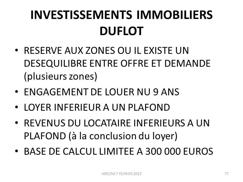 INVESTISSEMENTS IMMOBILIERS DUFLOT RESERVE AUX ZONES OU IL EXISTE UN DESEQUILIBRE ENTRE OFFRE ET DEMANDE (plusieurs zones) ENGAGEMENT DE LOUER NU 9 ANS LOYER INFERIEUR A UN PLAFOND REVENUS DU LOCATAIRE INFERIEURS A UN PLAFOND (à la conclusion du loyer) BASE DE CALCUL LIMITEE A 300 000 EUROS ARECRA 7 FEVRIER 201377