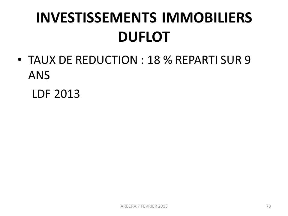 INVESTISSEMENTS IMMOBILIERS DUFLOT TAUX DE REDUCTION : 18 % REPARTI SUR 9 ANS LDF 2013 ARECRA 7 FEVRIER 201378