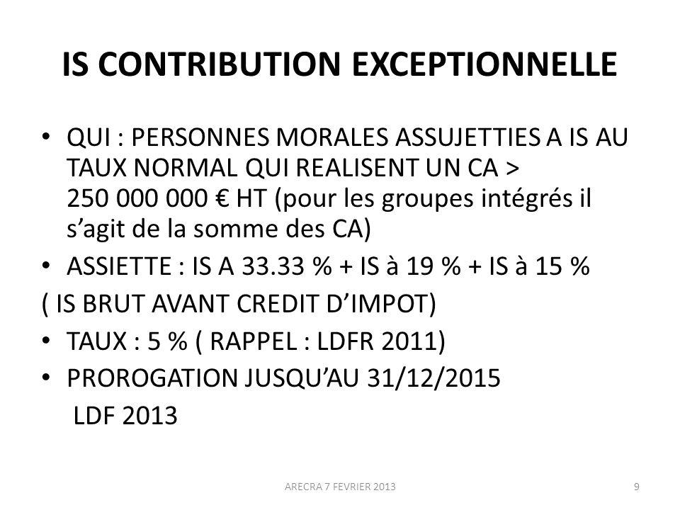 IS CONTRIBUTION EXCEPTIONNELLE QUI : PERSONNES MORALES ASSUJETTIES A IS AU TAUX NORMAL QUI REALISENT UN CA > 250 000 000 HT (pour les groupes intégrés il sagit de la somme des CA) ASSIETTE : IS A 33.33 % + IS à 19 % + IS à 15 % ( IS BRUT AVANT CREDIT DIMPOT) TAUX : 5 % ( RAPPEL : LDFR 2011) PROROGATION JUSQUAU 31/12/2015 LDF 2013 9ARECRA 7 FEVRIER 2013