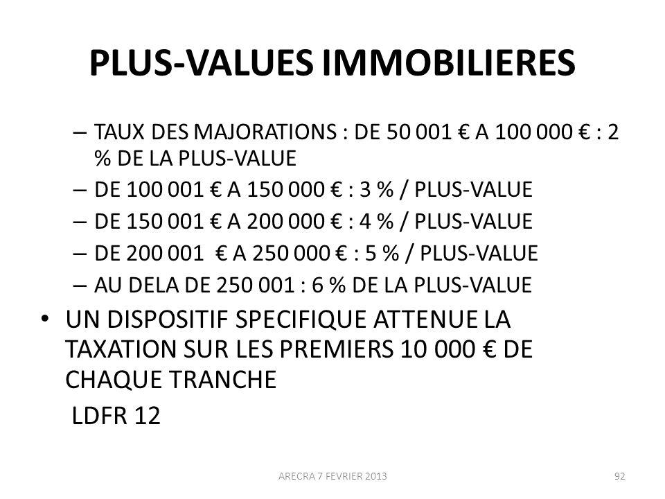 PLUS-VALUES IMMOBILIERES – TAUX DES MAJORATIONS : DE 50 001 A 100 000 : 2 % DE LA PLUS-VALUE – DE 100 001 A 150 000 : 3 % / PLUS-VALUE – DE 150 001 A 200 000 : 4 % / PLUS-VALUE – DE 200 001 A 250 000 : 5 % / PLUS-VALUE – AU DELA DE 250 001 : 6 % DE LA PLUS-VALUE UN DISPOSITIF SPECIFIQUE ATTENUE LA TAXATION SUR LES PREMIERS 10 000 DE CHAQUE TRANCHE LDFR 12 ARECRA 7 FEVRIER 201392