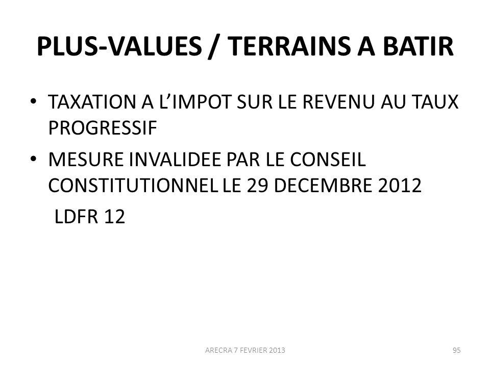PLUS-VALUES / TERRAINS A BATIR TAXATION A LIMPOT SUR LE REVENU AU TAUX PROGRESSIF MESURE INVALIDEE PAR LE CONSEIL CONSTITUTIONNEL LE 29 DECEMBRE 2012 LDFR 12 ARECRA 7 FEVRIER 201395