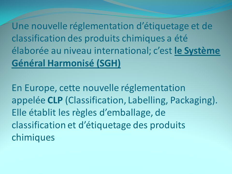Une nouvelle réglementation détiquetage et de classification des produits chimiques a été élaborée au niveau international; cest le Système Général Harmonisé (SGH) En Europe, cette nouvelle réglementation appelée CLP (Classification, Labelling, Packaging).