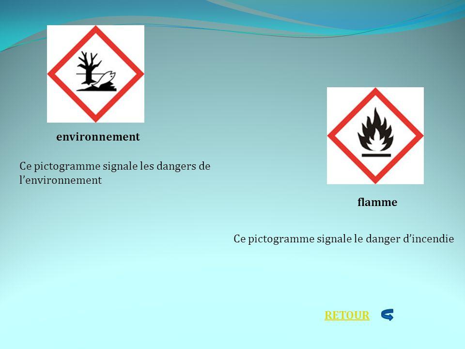 environnement flamme Ce pictogramme signale les dangers de lenvironnement Ce pictogramme signale le danger dincendie RETOUR