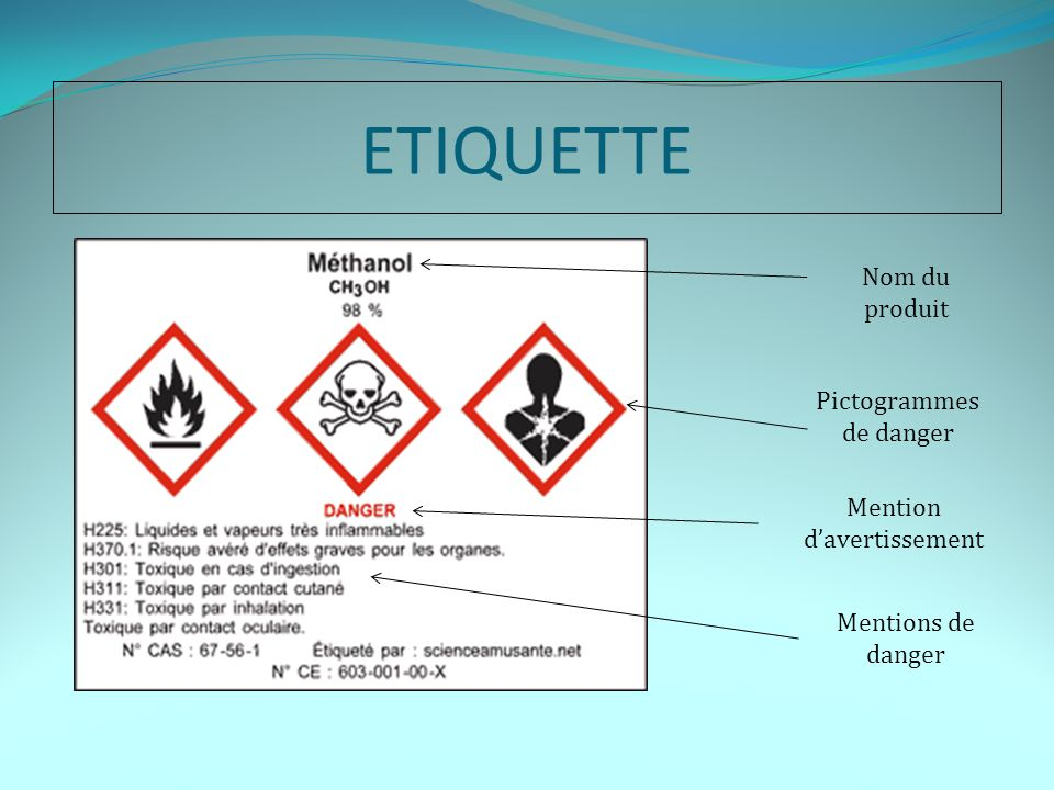 ETIQUETTE Nom du produit Pictogrammes de danger Mentions de danger Mention davertissement
