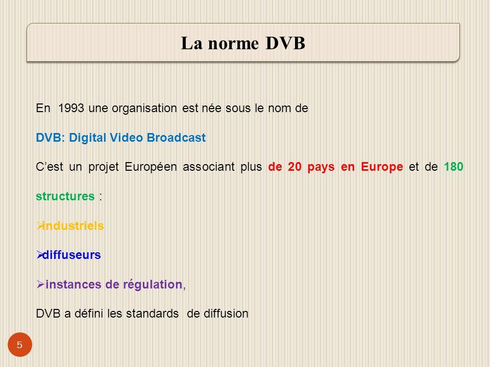 6 Standards DVBCaractéristiques DVB-S *Des répéteurs ou transpondeurs de 36 à 72 MHz sont utilisés pour la diffusion *Modulation : QPSK * Canalsat utilise le DVB-S DVB-C * Un réseau câblé diffuse les signaux de la télévision *Modulation : QAM *Le service « TV dorange » de la SONATEL utilise le DVB-C.
