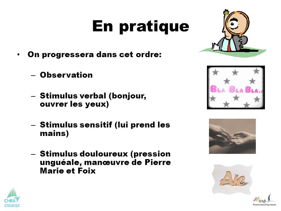 En pratique On progressera dans cet ordre: – Observation – Stimulus verbal (bonjour, ouvrer les yeux) – Stimulus sensitif (lui prend les mains) – Stim