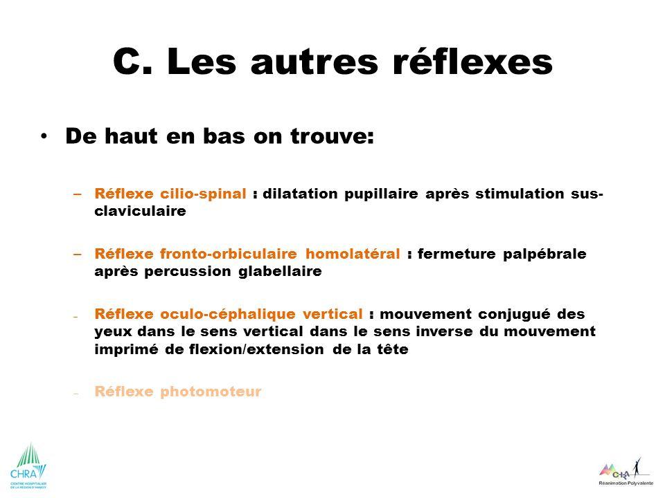 C. Les autres réflexes De haut en bas on trouve: – Réflexe cilio-spinal : dilatation pupillaire après stimulation sus- claviculaire – Réflexe fronto-o