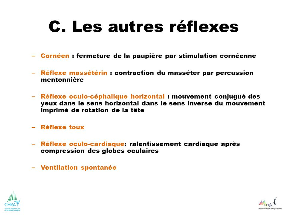 C. Les autres réflexes – Cornéen : fermeture de la paupière par stimulation cornéenne – Réflexe massétérin : contraction du masséter par percussion me