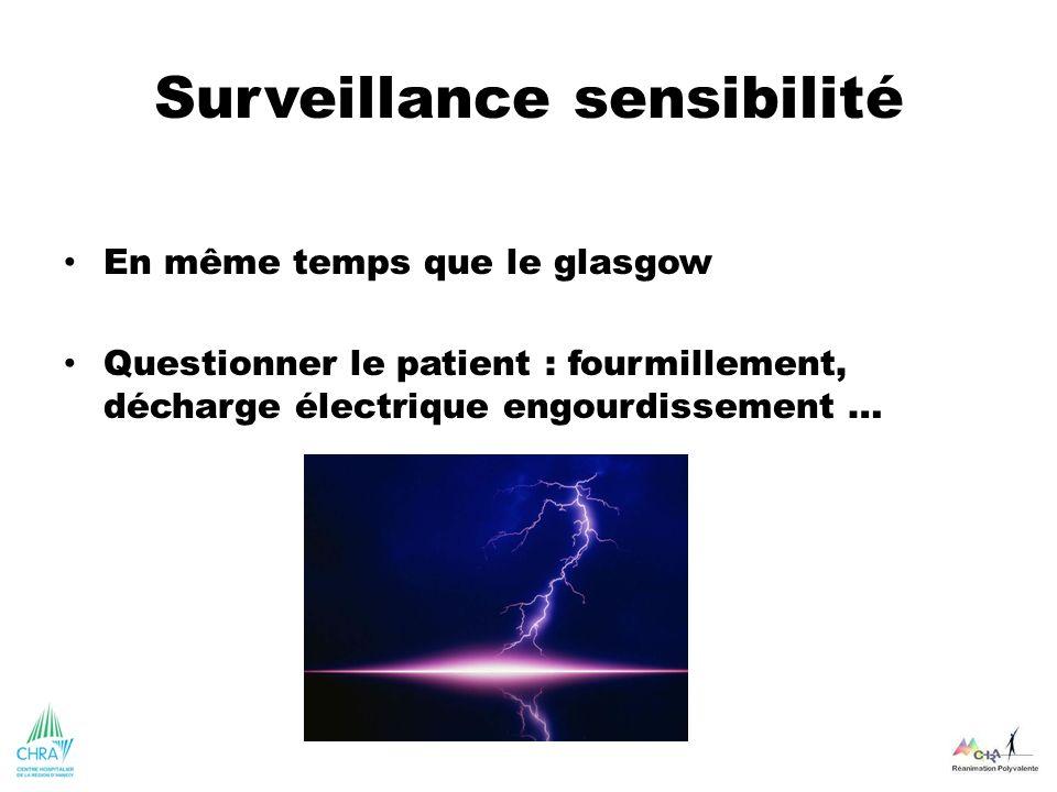 Surveillance sensibilité En même temps que le glasgow Questionner le patient : fourmillement, décharge électrique engourdissement …