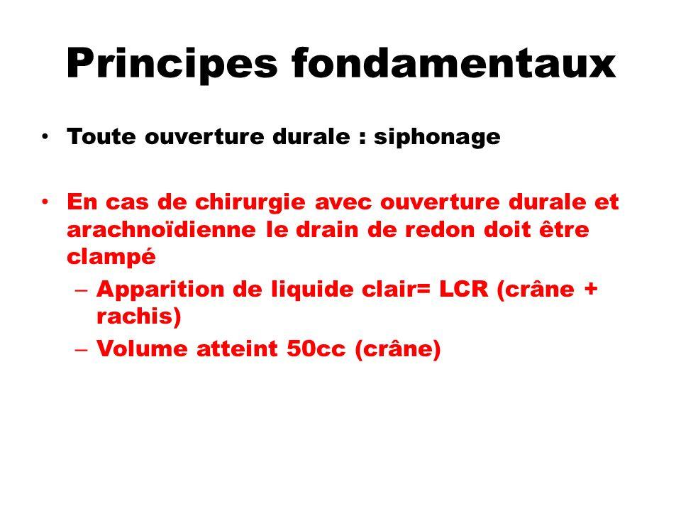 Principes fondamentaux Toute ouverture durale : siphonage En cas de chirurgie avec ouverture durale et arachnoïdienne le drain de redon doit être clam