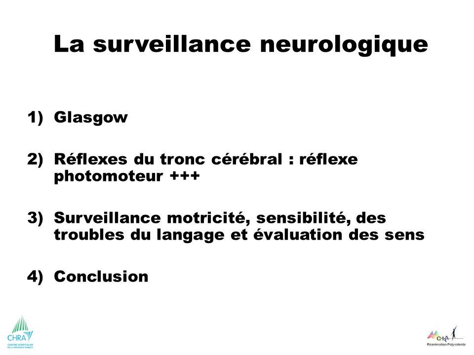 La surveillance neurologique 1)Glasgow 2)Réflexes du tronc cérébral : réflexe photomoteur +++ 3)Surveillance motricité, sensibilité, des troubles du l