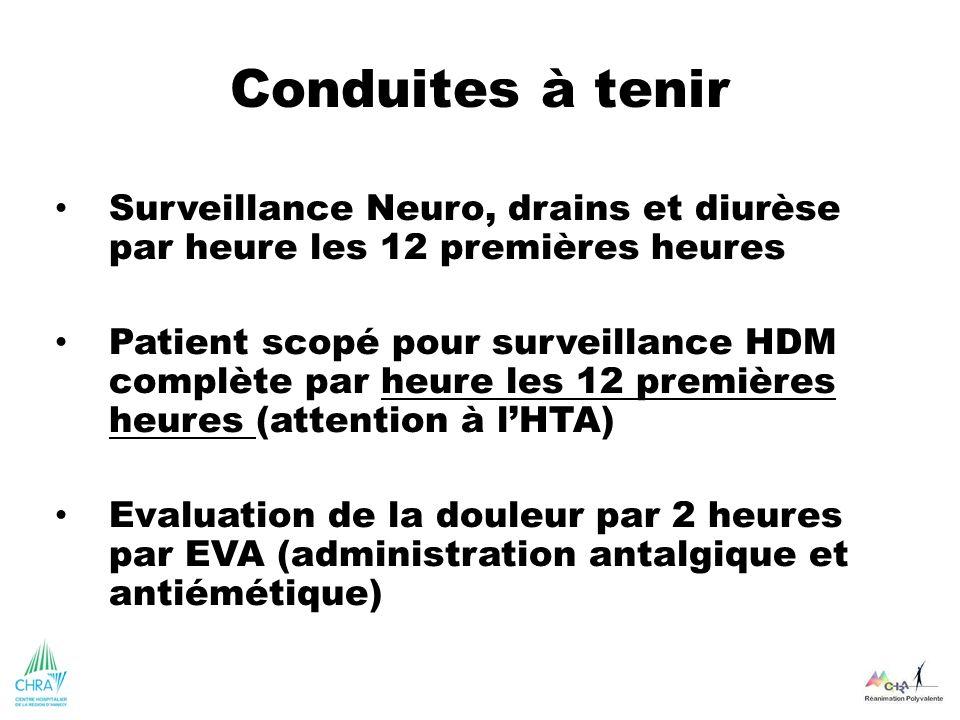 Conduites à tenir Surveillance Neuro, drains et diurèse par heure les 12 premières heures Patient scopé pour surveillance HDM complète par heure les 1