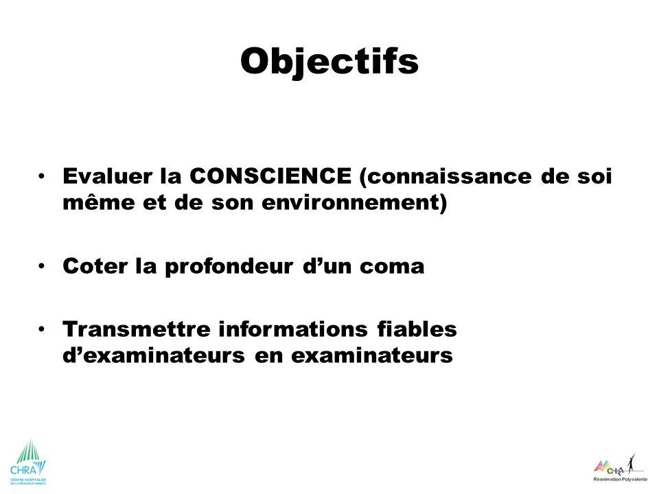Objectifs Evaluer la CONSCIENCE (connaissance de soi même et de son environnement) Coter la profondeur dun coma Transmettre informations fiables dexam